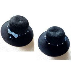 バッグインok■ブラック ハット 帽子■動くキラキラビーズ