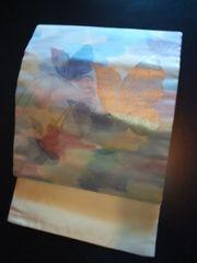 淡クリーム銀蝶々*ナゴヤ正絹帯中古美品レタR