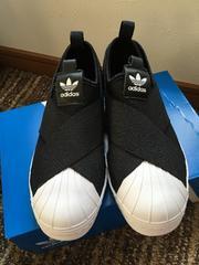 入手困難/ adidas/ スリッポン/black23.5・新同
