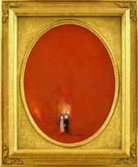 絵画 油彩 塙賢三『赤い月の見える森』真作保証 傑作です