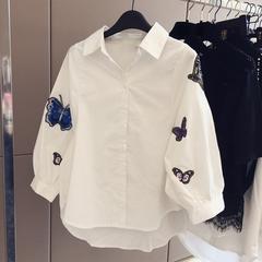 ゆったりシャツ ブラウス 刺繍 白シャツ キレイめ七分袖 S~2XL/