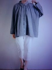 ●08mab●Wガーゼ ギャザーシャツ 新品 杢グレー