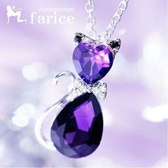 ネット最安値390円★人気定番 猫モチーフ・ネックレス♪紫