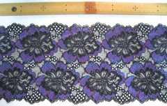 ポリエステル系ストレッチレース3枚黒紫3レターパック510配送可