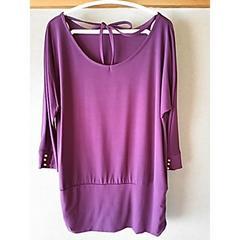新品 チュニック L 紫 トップス リボン 洋服