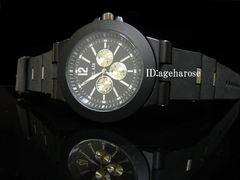 新品 腕時計 クロノグラフ風  ラバー ブラック/ブルガリ好き