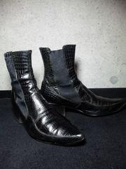 アルフレッドバニスター〓クロコ型押サイドゴアブーツ靴〓41/黒