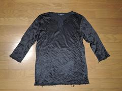 シェラックSHELLACカットソー46黒光沢7分丈ロンT