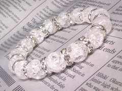 爆裂水晶クラック水晶§12ミリ§銀ロンデル数珠