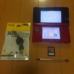 送料無料 3DS 本体 レッド(赤)8GB SDカード付き