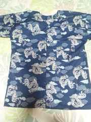 ☆新品紺×雲龍和柄ダボシャツ120