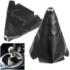 シフト ノブ ブーツ カバー カーボン調 黒ステッチ入り合皮