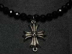 即決!!サンマークフレアクロス×ブラックダイヤカットオニキス数珠ネックレス