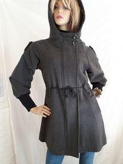 バルーン袖 形が良い すっきりコート  チャコール グレー