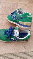 NBニューバランス574グリーン×ブルー24センチ