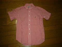美中古APEエイプギンガムチェックシャツS赤白半袖