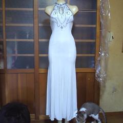Swallowtail高級 白 ビジュー&ストーン ロングドレス