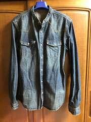 デニムスタンドカラーシャツ(XL)タグ無し新品。送料込。