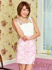 2832★カラービジュー&パール装飾*胸元クロスカット花柄タイトミニドレス*ピンク