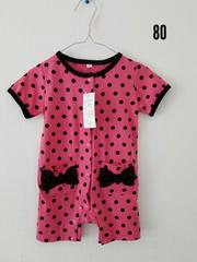 ピンクに黒の水玉、半袖オール