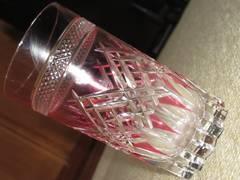 未使用☆切り子グラス*酒器*コップ*KAGAMI CRYSTAL(ピンク)