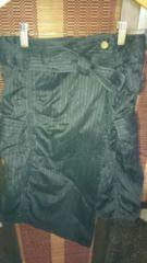 春物美品OLIVEdesOLlVE黒ストライプ両脇ポケット変形スカート
