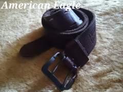 【アメリカンイーグル】Vintage AEOパーフォレイトレザーベルト 32/D.Brown