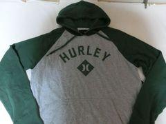 ハーレー【hurley】ロゴプリントプルオーバーパーカーUS XL灰x緑