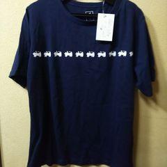 新品★Ansel★猫の行進Tシャツ/M/ネイビー