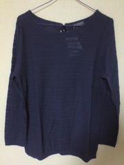 新品/CINEMA CLUB/カットソー/紫色/長袖/リボン有/Lサイズ