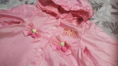メゾピアノピンクいちごちゃんギンガムチェックレインコート100サイズ