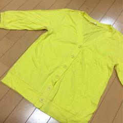 七分袖カーディガン◆L/無地Tシャツ素材◆イエロー