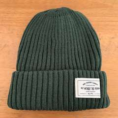 ★ニット帽・ネームタグ付きリブニットワッチ ★緑★
