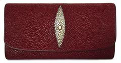 美品スティングレイ長財布エイ革レッド赤財布ガルーシャメ