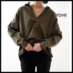 〇grove〇ゆったり抜き衿 スキッパー ビッグシャツ グローブ