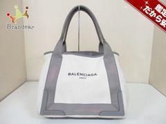 バレンシアガ トートバッグ ネイビーカバS 339933 白×グレー コットン×レザー