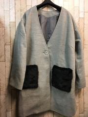 新品☆4Lポケット可愛いライトコート ドロップショルダー☆n976