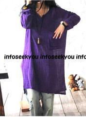 LL3L4L大きいサイズ/Vカットゆる紫シャツチュニック