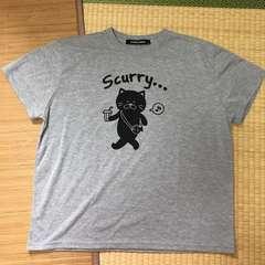大きいサイズ4L・グレー猫キャラクタープリントTシャツ。