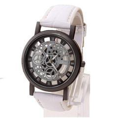 ネット最安値500円★超人気アンティーク風スケルトン腕時計白