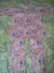 ☆処分品ピンク×薔薇蝶パール柄ダボシャツ&股引130
