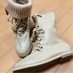 新品◆ミドル&ショートブーツ◆ニット付36アイボリーベージュ