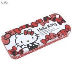【キティ】可愛い文房具.ステーショナリー♪缶フリーケース 筆箱リボン