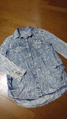 大きいサイズ☆裾シャーリング薄手デニムシャツ/L