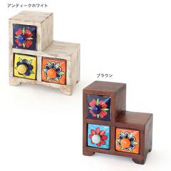 【陶器】ミニチェスト インテリア小物 アンティーク調 引き出し アジアン雑貨【ステア】