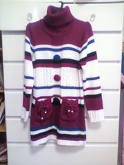 美品可愛い膝丈セーターボーダー柄紫白黒青