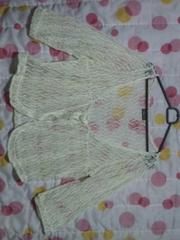 新品同様 5分袖編み編みボレロ風カーデ(白)4L