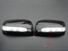 LEDウィンカーミラーカバー セレナ エクストレイル ラフェスタ ムラーノ スーパーブラックKH3