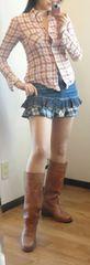美品◆リメイクふう デニム ミニスカートサーフ系 フレアー ビンテージ感 M