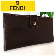 正規良品 FENDI レザー 長財布 ブラウン 茶色 レディース メンズ